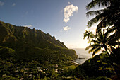 View into the valley of Omo'a at sunset, Fatu Hiva, Marquesas, Polynesia, Oceania