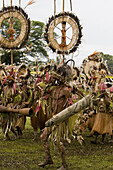 Men wearing headdress and traditional costumes at Singsing Dance, Lae, Papue New Guinea, Oceania