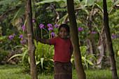 Local girl at a garden, Pohnpei, Micronesia, Oceania