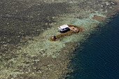 Aerial view of a deserted island with house, Pohnpei, Micronesia, Oceania