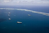 Aerial view of lagoon in front of Kolonia with tankers, Pohnpei, Micronesia, Oceania