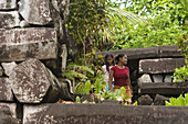 Girls at the ruins of Nan Madol, Pohnpei, Micronesia, Oceania