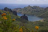 High angle view at mountain peaks and bay, Hatiheu, Nuku Hiva, Marquesas, Polynesia, Oceania