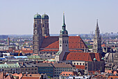 City of Munich with Frauenkirche, St. Peter's church and New Town Hall, Munich, Bavaria, Germany