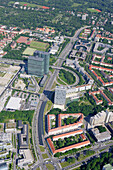 Aerial view of the Highlight Towers at Schwabing, Munich, Bavaria, Germany