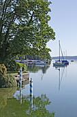 Boats anchoring near the bank of lake Starnberg, Tutzing, Bavaria, Gernany