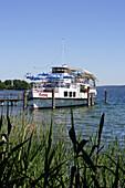 Museum ship at lakeshore, Lake Starnberg, Kustermannpark, Tutzing, Bavaria, Germany