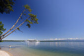 View over lake Starnberg to excursion boat, Tutzing, Bavaria, Germany
