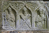 outdoor photo, summer, Jerpoint Abbey: sculptures at grave of Bishop O´Dulany, County Kilkenny, Ireland, Europe