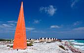 Slave huts Red Slave and red obelisk, Netherlands Antilles, Bonaire, Bonaire