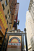 Chicago Theatre district sign, Palace theater sign, view from below. Chicago. Illinois. USA