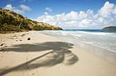 PUERTO RICO Culebra. Playa Zoni, Zoni beach on east side of island, Cayo Norte off coast, long sandy expanse