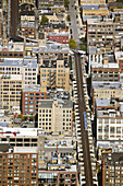 USA, Illinois, Chicago. View from Sears Tower observation deck, ell train on track, curve for loop
