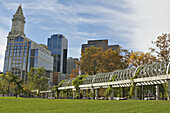 Massachusetts, Boston, Christopher Columbus Waterfront Park in North End, trellised arched walkway