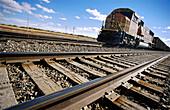 Locomotive and tracks. Sterling, Colorado. USA.
