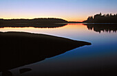 Sunset colours, Lac La Croix boundary waters. Canoe area, wilderness. Superior Natural Forest, Minnesota. USA.