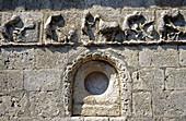 Frieze representing calendar of agricultural tasks of romanesque church of San Bartolomé (13th century). Campisabalos. Sierra de Ayllon. Guadalajara province. Castilla-La Mancha. Spain