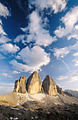 Tre Cime di Lavaredo (Three Chimneys). Lavaredo. Sextener Dolomiten. Alps. Dolomites. Italy.