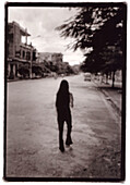Architecture, Asia, B&W, Back view, Black-and-White, Building, Buildings, Deserted, Exterior, Female, Full-body, Full-length, Human, One, One person, Outdoor, Outdoors, Outside, People, Person, Persons, Rear view, Single, Single person, Street, Streets,