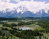 Teton Mountain Range and Pond. Grand Teton National Park. Teton County, Wyoming. USA.