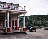 Antique car and Opera House National Historic Landmark, Virginia City (town former capital of Montana territory). Madison County, Montana. USA