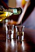 Person pouring Grappa into two glasses, Nardini Grappa Bar, Bassano del Grappa, Veneto, Italy