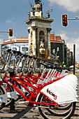 Municipal bicycles, Placa d'Espana, Barcelona, Catalonia, Spain