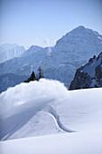 Snowboard tracks in snow, Reutte, Tyrol, Austria