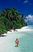 Tourist at Beach, Maldives, Indian Ocean, Medhufushi, Meemu Atoll