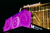Illuminated advertising of Hotel Planet Hollywood, Las Vegas, Nevada, USA, America