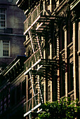 Fire escape stairs in Midtown Manhattan, New York, USA, America