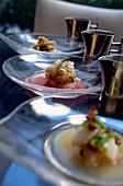 Seafood dish in Restaurant Anthos, Manhattan, New York, USA, America
