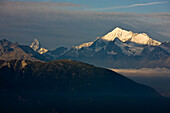The mountains Matterhorn and Weisshorn in the morning sun, Canton of Valais, Switzerland