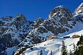Alpine hut Gruttenhutte in snow, Wilder Kaiser range, Kaiser Mountain Range, Tyrol, Austria