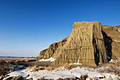 Castle Butte formation in Big Muddy Badlands with fresh snow. Bengough, Saskatchewan, Canada