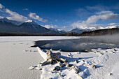 Open water of Vermilion Lakes with Sundance Range reflections. Banff National Park, Alberta, Canada