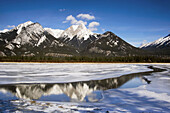 DeSmet Range reflected in open ice and water channel of Jasper Lake. Alberta, Canada