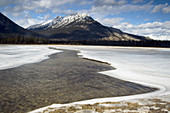 Open water channel in Jasper Flats. Alberta, Canada