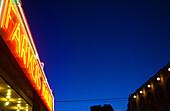 Building, Buildings, Color, Colour, Commerce, Concept, Concepts, Detail, Details, Exterior, Farmers Market, Horizontal, Lit, Low angle view, Market, Markets, Neon, Night, Nighttime, Outdoor, Outdoors, Outside, Perspective, Retail, Shop, Shops, Sign, Sign