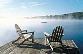 Adirondack chairs in a dock. Starlight. Poconos. Pennsylvania