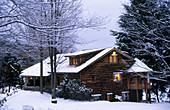 Rustic home in winter time. Pocono region. Pennsylvania. USA