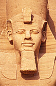 Head of colossal statue at Abu Simbel temple. Egypt