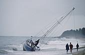 Stranded sailing boat. Ko Samui Island. South Thailand