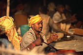 Fire worship at Kumbh Mela Festival. Allahabad, India