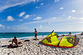 Kite surfers at beach, Barbados, Caribbean