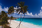 View over sandy beach of Bottom Bay, St. Philip, Barbados, Caribbean