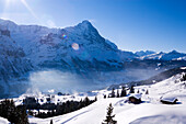 Snow covered alpine huts, First, Grindelwald, Bernese Oberland, Canton of Bern, Switzerland