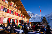 Guests at the mountain restaurant Bort, First, Grindelwald, Bernese Oberland, Canton of Bern, Switzerland