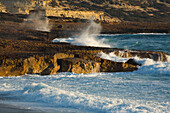 Surf on the beach, Coastal landscape, Akamas Nature Reserve Park, South Cyprus, Cyprus