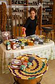Delicatessen shop, Niki's traditional marmelades, jams and sweets, Agros, Pitsilia region, Troodos mountains, Cyprus